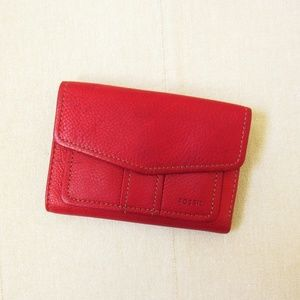 FOSSIL • Red Leather Trifold Wallet